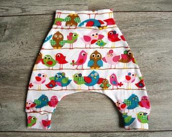 Mini harem pants with little birds