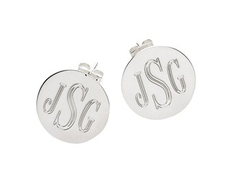 Personalized Monogram Silver Round Post Earrings