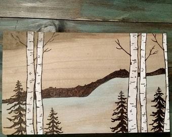 Woodland Water Wood Burning- Birch Trees