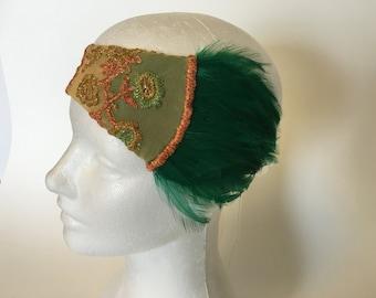 Jazz age lawn party headband flapper headpiece summer flapper dress headband flapper tea dress sheer 1920 gatsby dress floral garden wedding