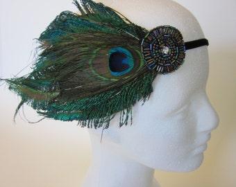 BLUE PEACOCK Headband for Peacock Blue Dress, 1920s Dress Gatsby Headband Blue Beaded Headband Stretch Elastic Velvet