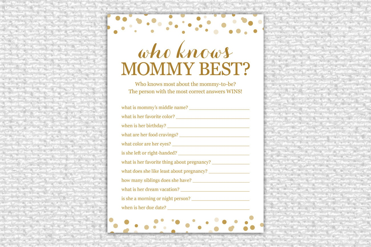 who knows mommy best baby shower printable baby shower game. Black Bedroom Furniture Sets. Home Design Ideas