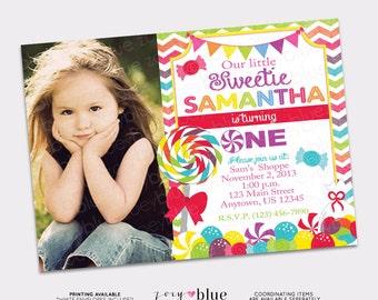 Candy Shop Lollipop Girl Birthday Party Invitation (1st First Birthday) Candy Shoppe Party Lollipop Invitation - Printable Digital File