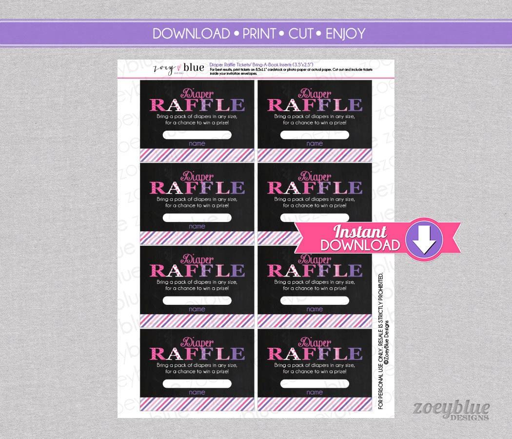 pink purple chalkboard diaper raffle tickets girl baby shower pink purple chalkboard diaper raffle tickets girl baby shower games printable diaper raffle ticket diy printable file instant