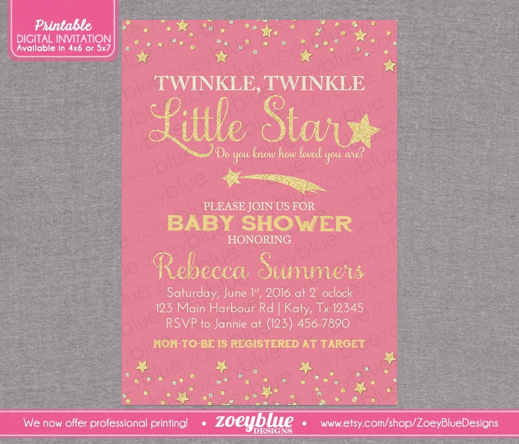 twinkle little star baby shower invitation by zoeybluedesigns