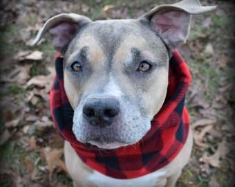 LARGE DOG SNOOD / cowl / scarf/ red buffalo plaid