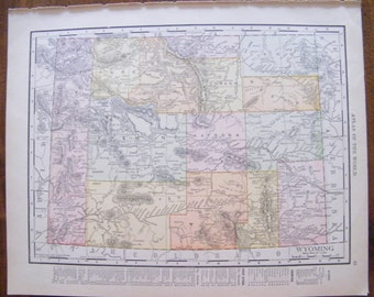Authentic Antique Vintage 1913 Map of Wyoming Rand McNally Unrivaled Atlas of the world page 103 year old map