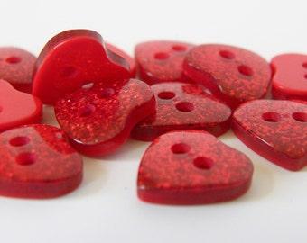 10 x 10mm Glitter Heart Button - Red