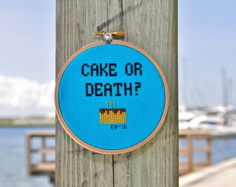 Cake or Death Eddie Izzard cross stitch wall art, handmade, finished