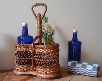 Wicker Bottle Rack ... French Vintage Wicker Ware...French Picnic...French Kitchen...Shabby chic...Rattan furniture...Rustic Home Decor..