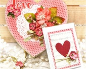 Heart shaped decorated gift box  and matching card