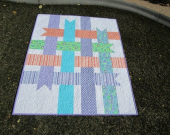 Baby Girl Quilt**Crib Quilt**Ribbons**Purple**Toddler Quilt