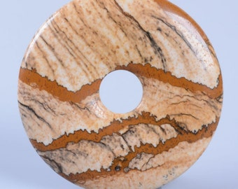 g3565 40mm Picture jasper donut focal pendant bead