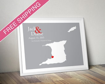 Custom Wedding Gift : Personalized Wedding Location and Country Map Print - Trinidad and Tobago - Wedding Guest Book