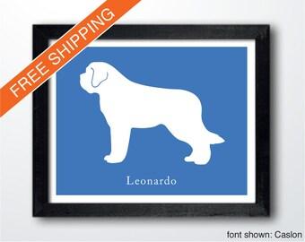Personalized Saint Bernard Silhouette Print with Custom Name - St Bernard art, dog portrait, modern dog home decor