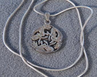 Vintage Sterling Silver Mythological Creature Pendant Necklace    **RL