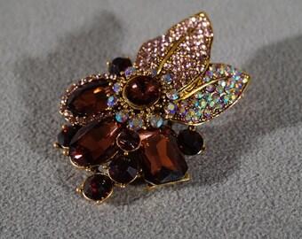 Vintage Art Deco Style Yellow Gold Tone Rhinestone Glass Stone Aurora Borealis Floral Design Pin Brooch Jewelry    K#54