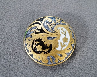 Vintage Fancy French Enameled Champleve' Button  **RL