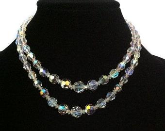 Signed Sherman Jewelry Vintage 1950's Swarovski Crystal Necklace Earring Set Vintage Wedding AB Swarovski Crystal Set Canadian Vintage