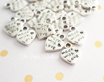 Made With Love Charms Tibetan Silver for Handmade Items Jars - 25 pieces
