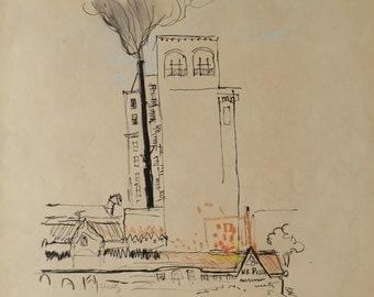 1970's Smoke Signed Pen & Pastel Mixed Media Illustration By Vi Fogle Uretz 1930-2003