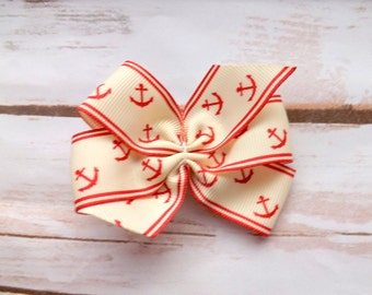 Nautical red and cream pinwheel bow hair clip, Nautical anchor red and cream bow, hair accessory, UK seller
