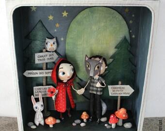 "Box window ""Red Riding Hood"", original illustration for Anatopik OOAK DOLLS"