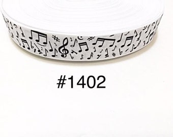 "3 or 5 yard - 7/8"" Music Musical Note on White Grosgrain Ribbon Hair bow"