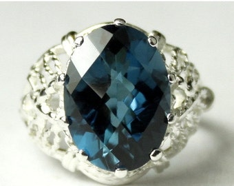 Valentines Sale 30% Off, SR260, 7 ct London Blue Topaz, 925 Sterling Silver Ring