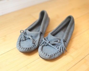 vintage minnetonka blue  leather moccasins loafers womens 7 1/2 *