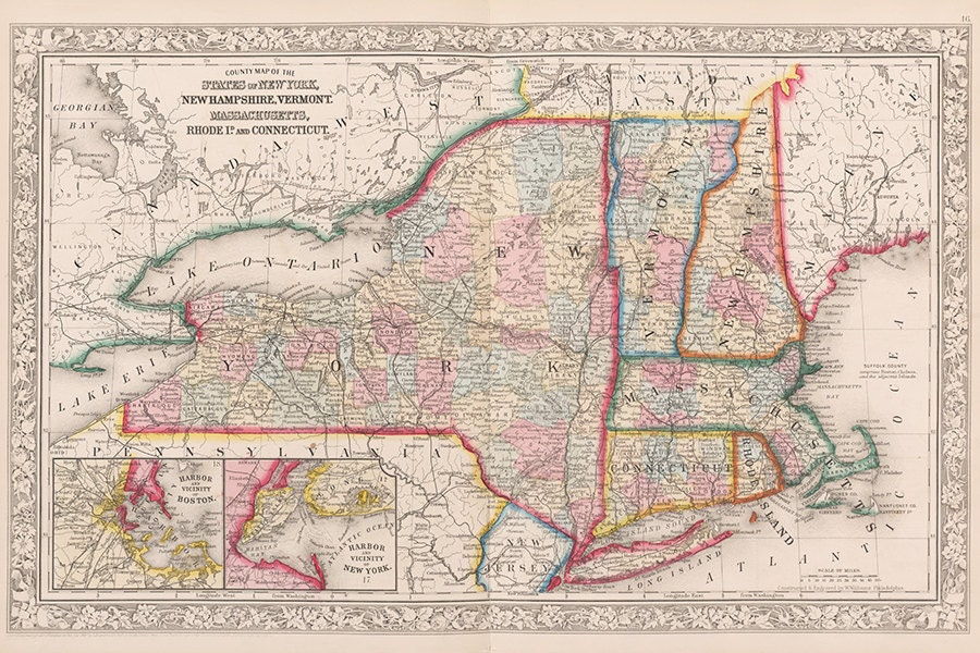Th Century New England And New York Map Massachusetts Map - Map of vermont and new york