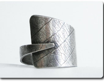 Sterling Silver Leaf Print Wrap Ring