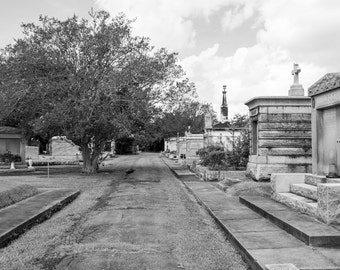 New Orleans Cemetery Black and White Photograph, Cemetary, Graveyard, Print, Photo
