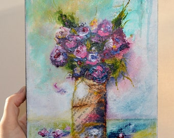 Original Small Painting on Canvas. Mixed Media Art. Flowers Painting. Abstract Art. Contemporary Fine Art
