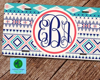 Tribal License Plate. License Plate Frame. Tribal Monogram Car Tag. Front License Plate. Navajo License Plate. Monogram Plate Frame