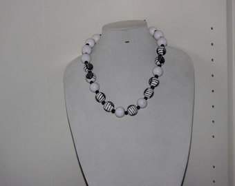 Large Beaded Black and White Necklace