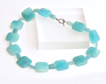 Hemimorphite Necklace, Teal Blue Ncklace, Beaded Necklace, Hemimorphite Beads