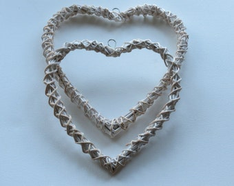 Pair of white washed open wicker hearts   decoration   to decorate   hanging decoration