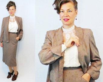 """40s Suit / 1940s Suit / Swing Jacket / Skirt Suit / Secretary Suit / WWII Suit / 1940s Skirt Suit / 40s Skirt Suit / Balaban Altman / W 26"""""""