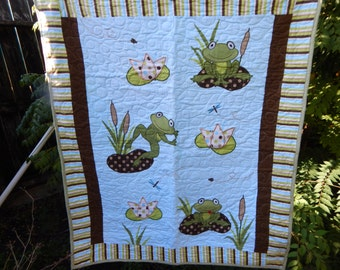 Handmade Frogs Baby Quilt