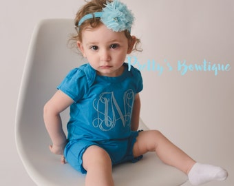 Girls Monogrammed Romper-- Girls Monogram outfit bodysuit/shirt/romper -- Girls Monogrammed outfit -- Summer outfit girls -- Personalized