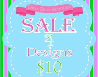 SALE! 4 Machine Embroidery designs for 10
