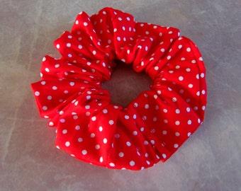 Red White Polka Dots Handmade Hair Scrunchie 100% Cotton