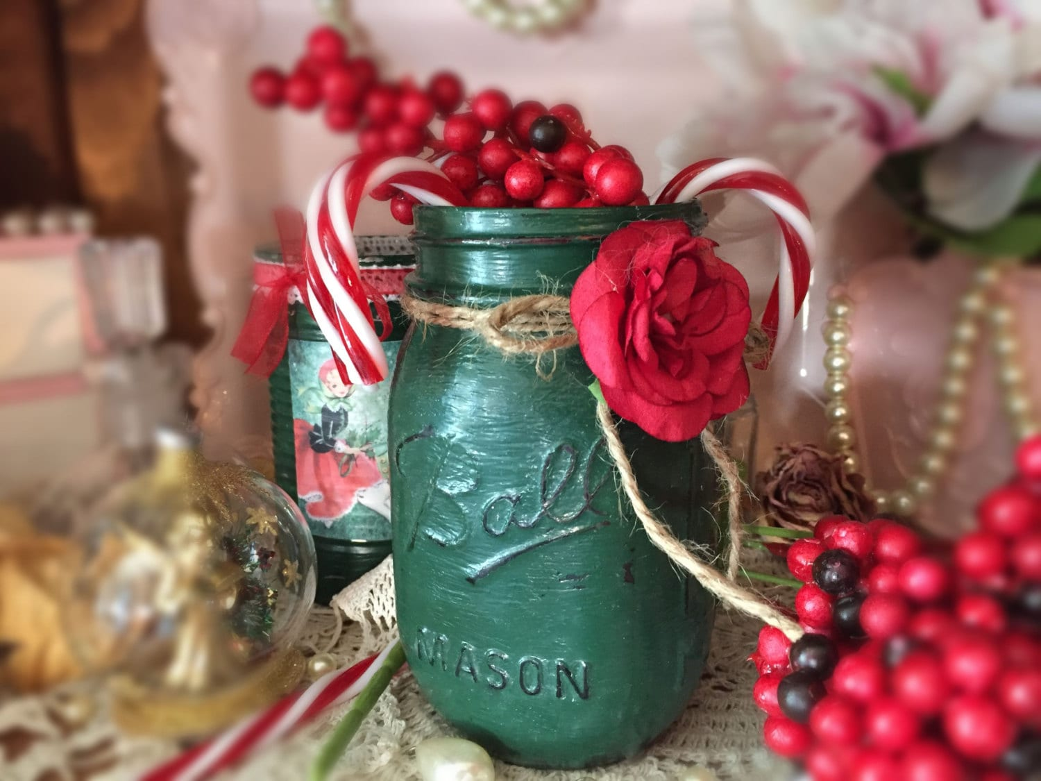 Christmas ball mason jar forest green table decor glass vase