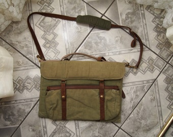 Laptop Messenger bag Army recycled Leather