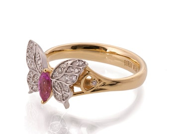 Butterfly Engagement Ring - 18K Gold and Pink Sapphire engagement ring, Marquise ring, unique engagement ring, pink sapphire ring, art deco