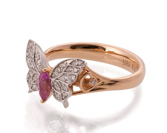 Butterfly Engagement Ring - 18K Rose Gold and Pink Sapphire engagement ring, unique engagement ring, rose gold engagement  ring, art deco