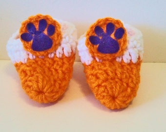 Adorable Orange White and Purple Tiger Paw Print Hand Crocheted Baby Bootie Shoes Great Photo Prop Matching Hat & Bib Also Available