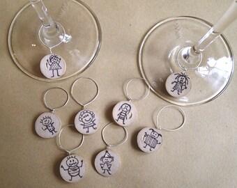 Emoties Stick People Wine Cork Wine Glass Charms (set of 6)
