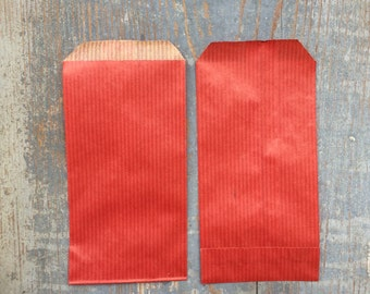 7 x 14 cm 10 Kraft paper bags Red